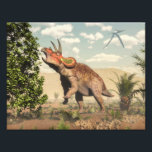 "Triceratops eating at magnolia tree - 3D render Photo Print<br><div class=""desc"">Triceratops eating at magnolia tree next to cycas by day  - 3D render</div>"