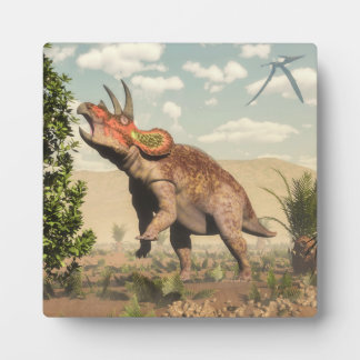 Triceratops eating at magnolia tree - 3D render Plaque