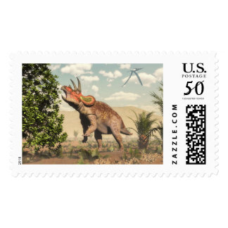 Triceratops eating at magnolia tree - 3D render Postage