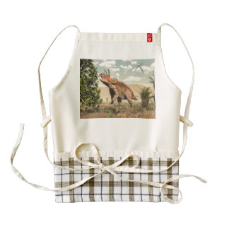 Triceratops eating at magnolia tree - 3D render Zazzle HEART Apron