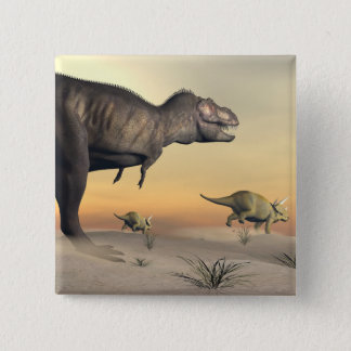 Triceratops escaping from tyrannosaurus- 3D render Pinback Button