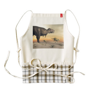 Triceratops escaping from tyrannosaurus- 3D render Zazzle HEART Apron