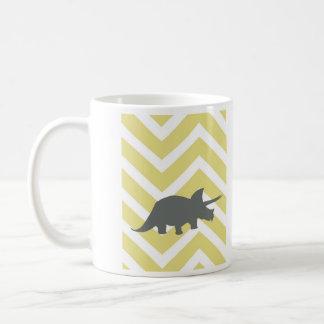 Triceratops on zigzag chevron - Yellow Coffee Mug