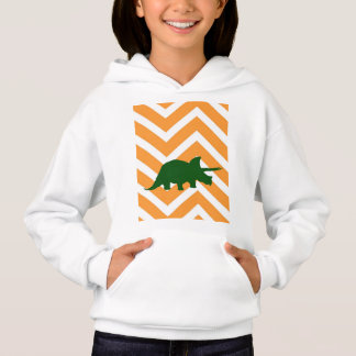 Triceratops on zigzag chevron - Yellow Hoodie