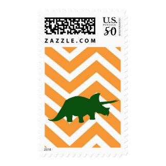 Triceratops on zigzag chevron - Yellow Postage