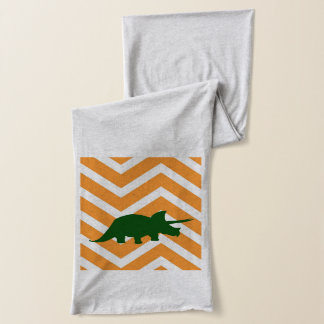 Triceratops on zigzag chevron - Yellow Scarf