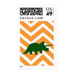 Triceratops on zigzag chevron - Yellow Stamps