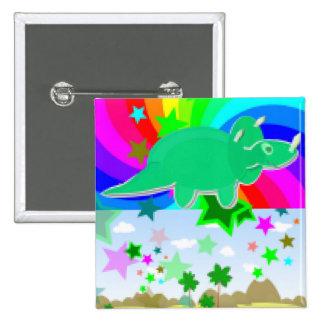 Triceratops Pixel Dinosaur Pinback Button