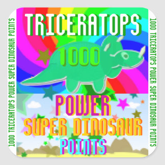 Triceratops Power Super Dinosaur 1000 Points Square Sticker