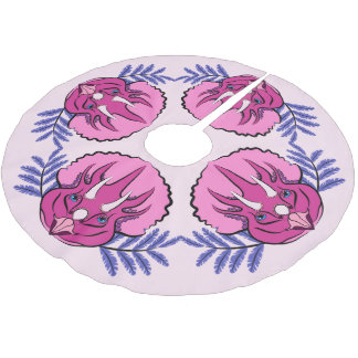 Triceratops Pretty Pink Dinosaur Brushed Polyester Tree Skirt