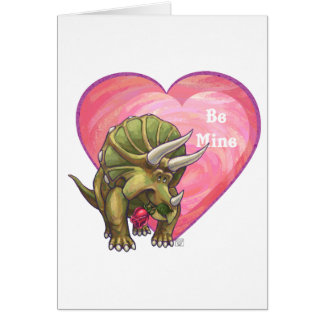 Triceratops Red Rose Heart Card