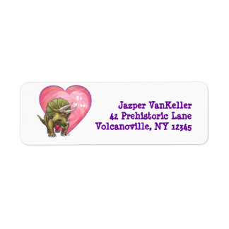 Triceratops Red Rose Heart Label