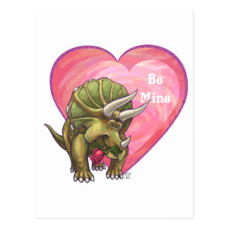 Triceratops Red Rose Heart Postcard