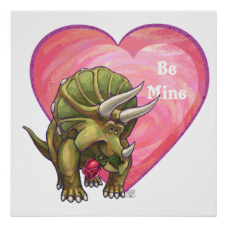Triceratops Red Rose Heart Poster