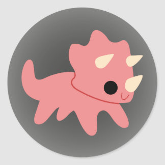 Triceratops rosado lindo en gris pegatina redonda