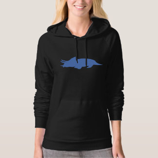 Triceratops Silhouette (Blue) Hooded Sweatshirts