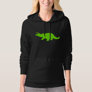 Triceratops Silhouette (Green) Hooded Sweatshirts