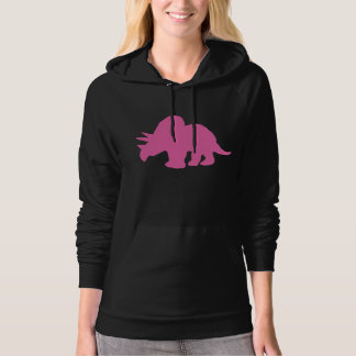 Triceratops Silhouette (Pink) Hoodies