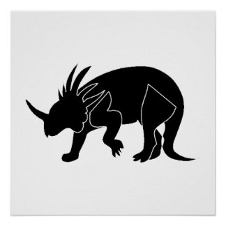 Triceratops Silhouette Print