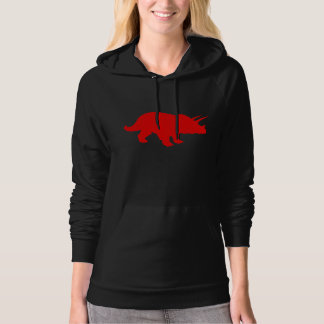 Triceratops Silhouette (Red) Hooded Pullovers