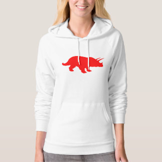 Triceratops Silhouette (Red) Hooded Sweatshirts