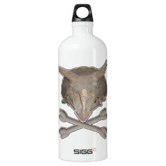 Triceratops Skull n Cross Bones Aluminum Water Bottle