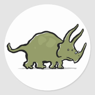triceratops wearing glasses classic round sticker