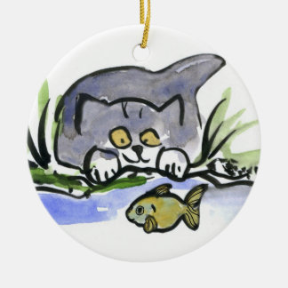 Tricia, gray kitten, Watches A Fish Ceramic Ornament