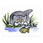 Tricia, gray kitten, Watches A Fish Postcard