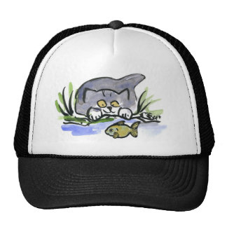 Tricia, gray kitten, Watches A Fish Trucker Hats