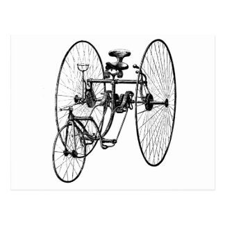 Triciclo de la bicicleta de tres ruedas tarjetas postales
