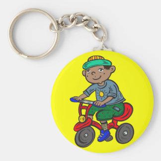 Triciclo del montar a caballo del muchacho llavero personalizado