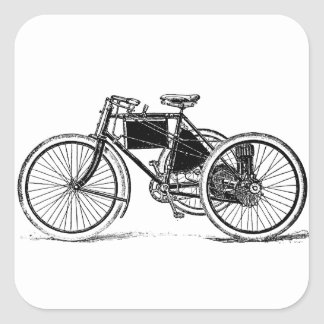Triciclo del vintage pegatina cuadrada