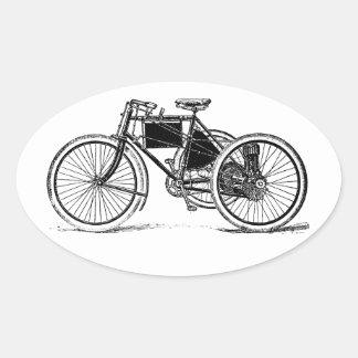Triciclo del vintage pegatina ovalada