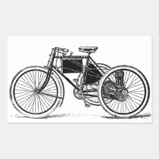 Triciclo del vintage pegatina rectangular