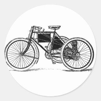 Triciclo del vintage pegatina redonda