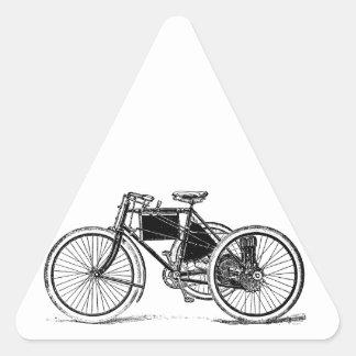 Triciclo del vintage pegatina triangular