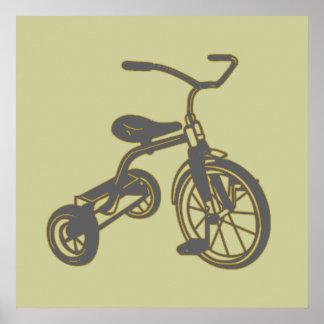 Triciclo gris póster