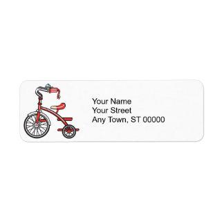 triciclo retro etiqueta de remite