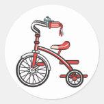 triciclo retro etiqueta redonda