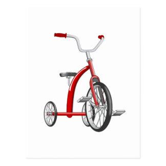 Triciclo rojo realista postal