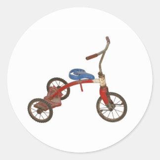 Triciclo viejo pegatina redonda
