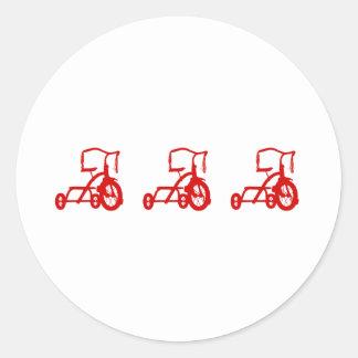 triciclos pegatina redonda