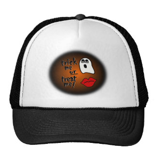 Trick Me Or Treat Me With Big-Eyed Ghost & Lips Mesh Hat