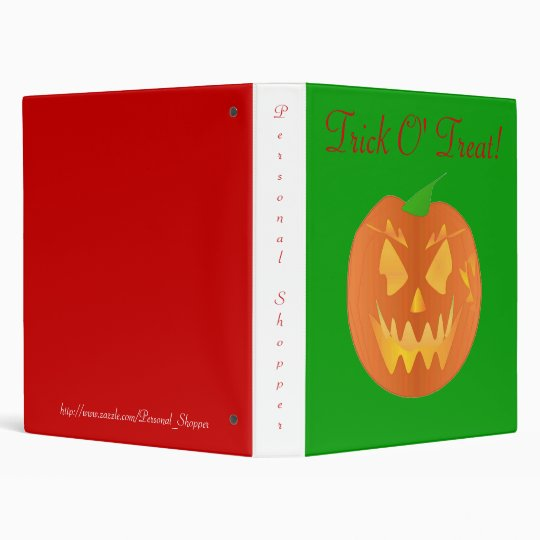Trick O' Treat In Green And Red 3 Ring Binder
