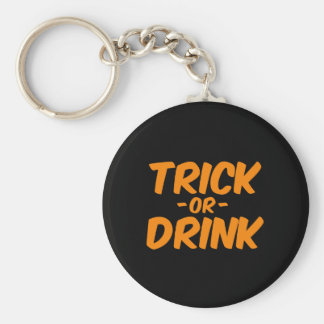 Trick or Drink Orange Funny Halloween Keychain
