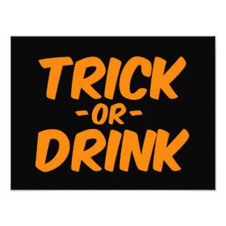 Trick or Drink Orange Funny Halloween Photo