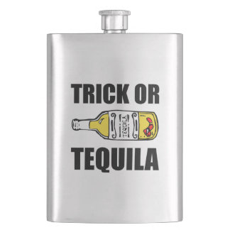 Trick Or Tequila Halloween Funny Flask