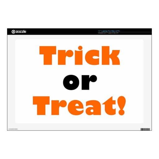 """Trick or treat 17"""" laptop skin"""
