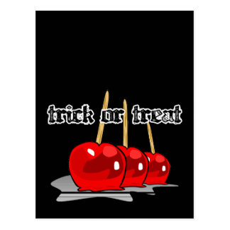 Trick or Treat 3 Red Candy Apples Postcard